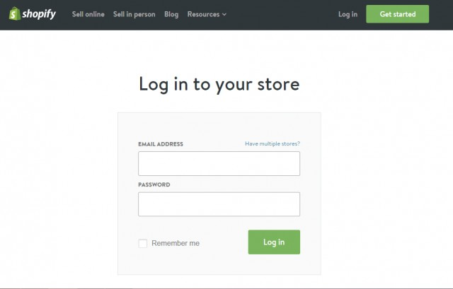 Shopify-Homepage-Login
