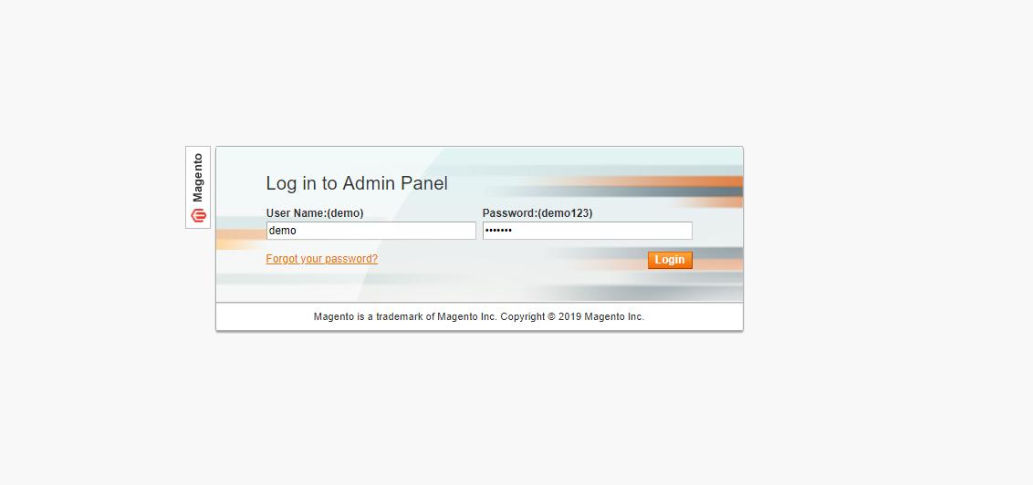 Magento 1 admin login page