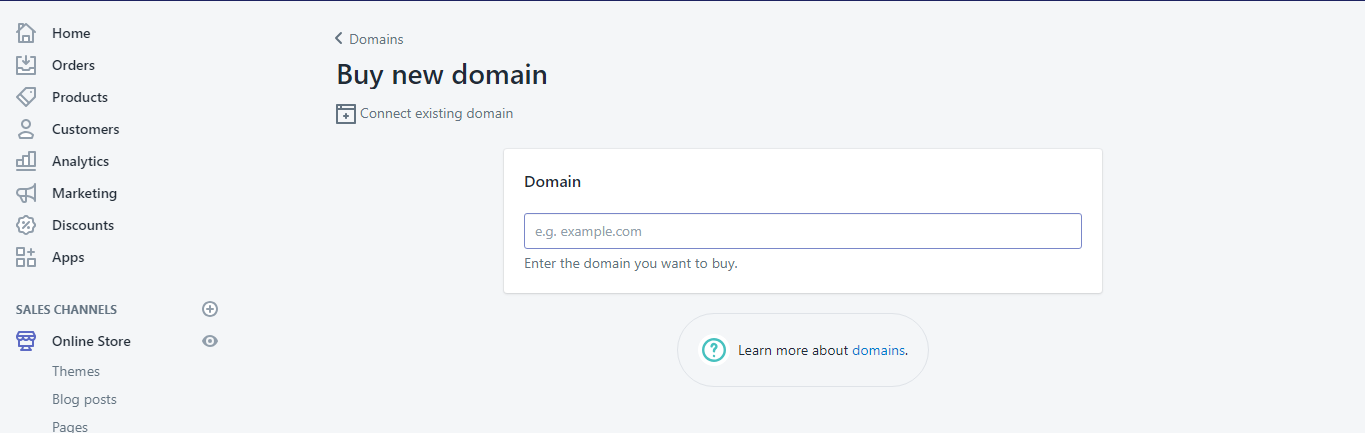 buy new domain - Shopify installation