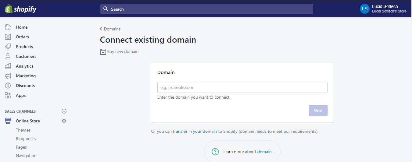 connect existing domain - Shopify installation