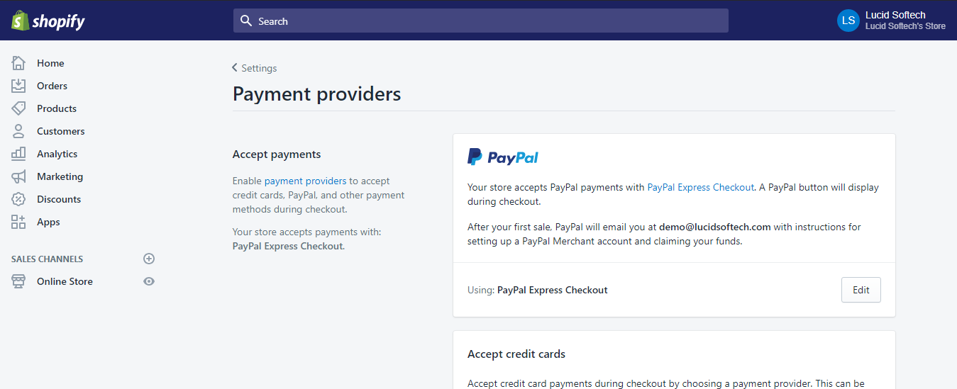 Setting up payment methods in Shopify - Shopify installation