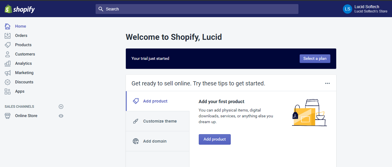 steps to setup your store - Shopify installation