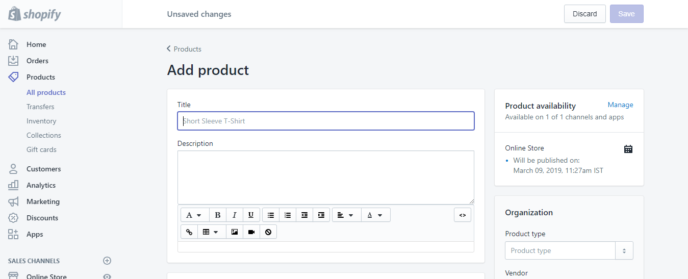 Add a product - Shopify installation